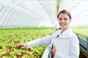 Government Program Evaluation - female government employee in greenhouse documenting crop growth regulations