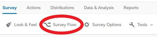 "Screen shot of Survey Flow page with ""Add a New Element Here"" circled"