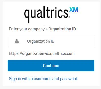 screen shot of Qualtrics support log-in screen