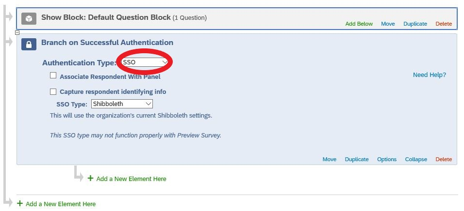 Screen shot of Authentication Type dropdown, with SSO selected.
