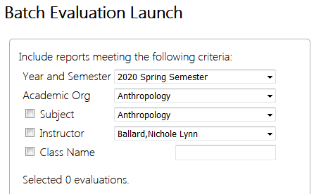 Batch evaluation launch menu screen grab