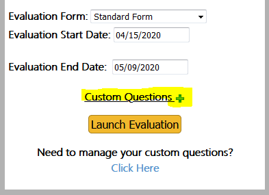 Add custom questions by clicking on the green plus