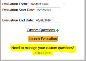 Manage Custom Questions from the evaluation details menu popup box